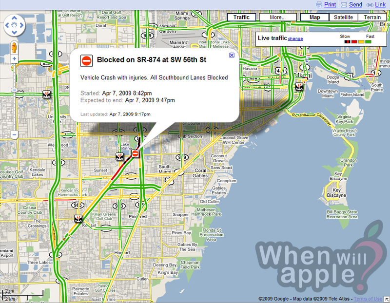 Google Maps traffic now provides car accident details | When Will Apple?